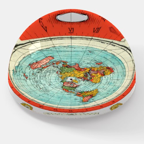 Navigational World Map Dome Flat Earth Model Paperweight