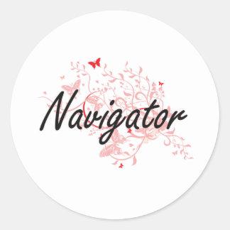 Navigator Artistic Job Design with Butterflies Classic Round Sticker