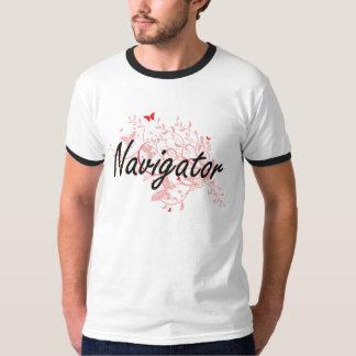 Navigator Artistic Job Design with Butterflies T-shirt