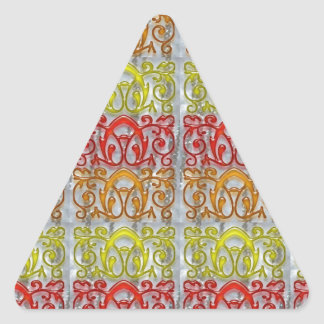 navinJOSHI grabado en relieve colorido del arte Pegatina Triangular