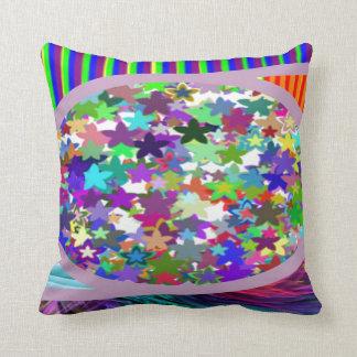 NAVINOgraph : Colorful Star Dish Signature Art Throw Pillow