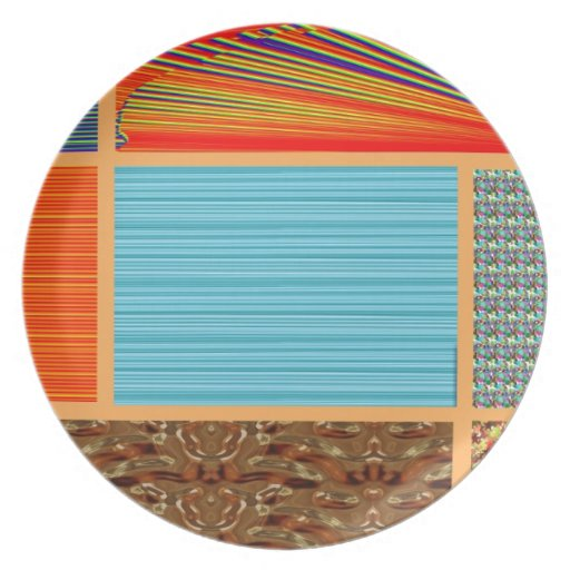 NAVINOgraph Signature Colorful Art Collage Dinner Plate
