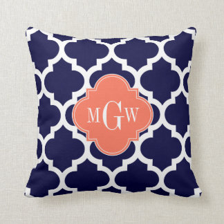 Navy 33a Wht Moroccan #5 Coral 3 Initial Monogram Throw Pillow