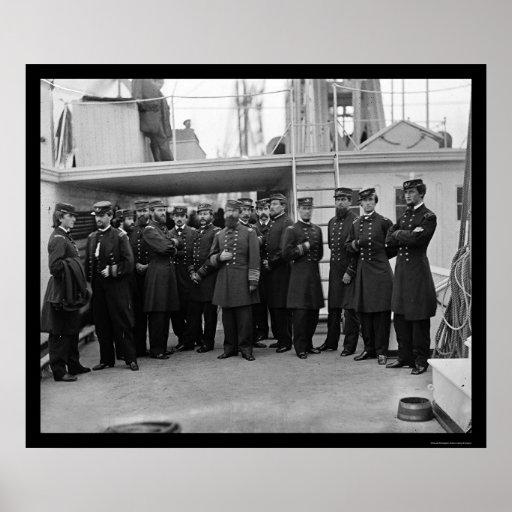 Navy Admiral Porter Aboard the USS Malvern 1864 Print