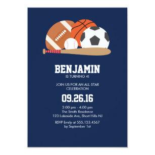 Navy All Star Sports Themed Birthday Party Invitation
