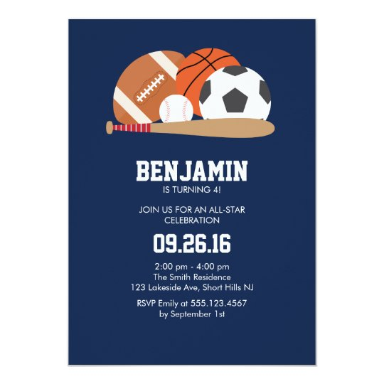 navy all star sports themed birthday party invitation zazzle com