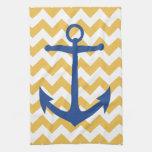 Navy Anchor and Chevrons Custom Kitchen Towel
