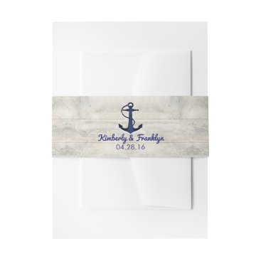 jinaiji Navy Anchor and Driftwood Beach Wedding Invitation Belly Band