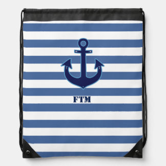 navy anchor and stripes personalized drawstring bag