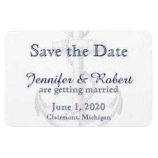 Navy Anchor Beach Wedding Save the Date Magnet