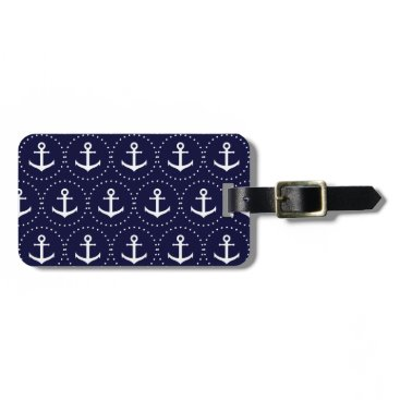 Navy anchor circle pattern luggage tag