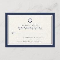 Navy Anchor Monogram Wedding RSVP Card