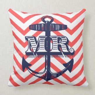 Navy Anchor Mr Groom Zig Zag Pattern Bride Pillo