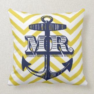 Navy Anchor Mr Groom Zig Zag Pattern Bride Pillo Pillows
