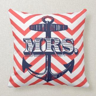 Navy Anchor Mrs Bride Zig Zag Pattern Bride Pillow