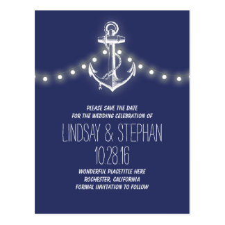 navy anchor nautical save the date postcards