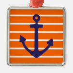 Navy Anchor on Orange Stripe Square Metal Christmas Ornament