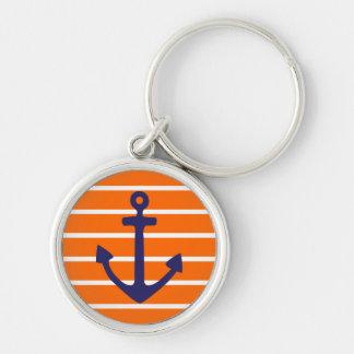 Navy Anchor on Orange Stripe Silver-Colored Round Keychain