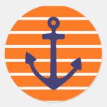 Navy Anchor on Orange Stripe Sticker