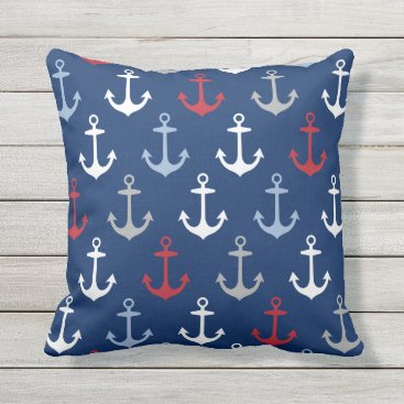 Beach Themed Navy Anchor Pattern | Nautical Red White and Blue Outdoor Pillow