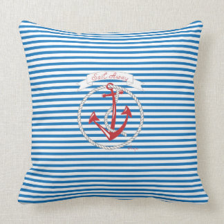 Navy Anchor, Red, Rope, Blue Stripes Throw Pillow