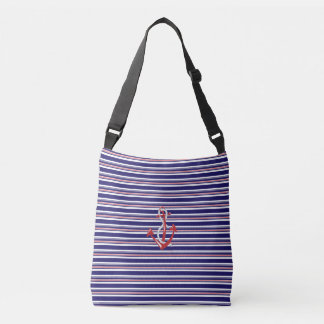 Navy Anchor, Rope, Red, Blue Stripes Pattern Crossbody Bag