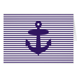 Navy Anchor with Blue Breton Stripes Greeting Cards