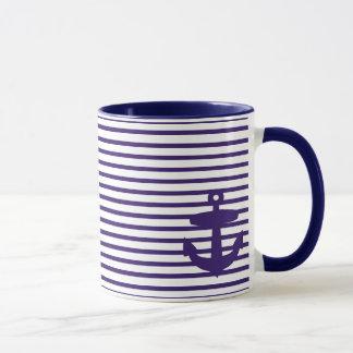 Navy Anchor with Blue Breton Stripes Mug
