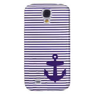 Navy Anchor with Blue Breton Stripes Samsung Galaxy S4 Cover