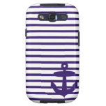 Navy Anchor with Blue Sailor Stripes Samsung Galaxy SIII Case