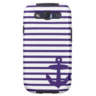 Navy Anchor with Blue Sailor Stripes Galaxy S3 Cover