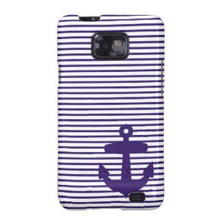 Navy Anchor with Blue Sailor Stripes Galaxy S2 Case