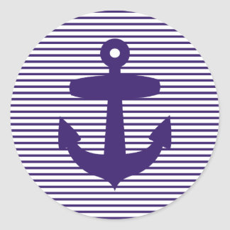 Navy Anchor with Blue Sailor Stripes Classic Round Sticker