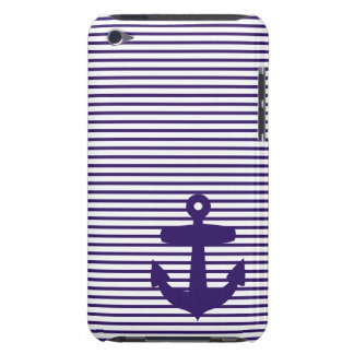 Navy Anchor with Blue Sailor Stripes iPod Touch Cover