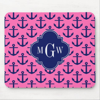 Navy Anchors Hot Pink #2, Navy 3 Initial Monogram Mouse Pad