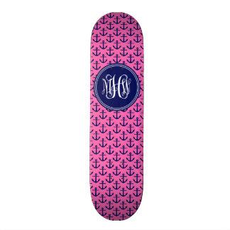 Navy Anchors Hot Pink, 3 Init Vine Script Monogram Skateboard Decks