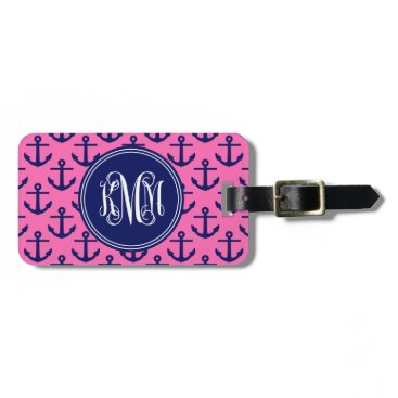Navy Anchors Hot Pink, Vine Script Monogram kMm Luggage Tag
