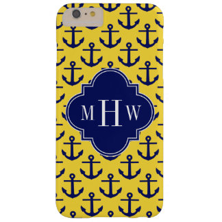 Navy Anchors Pineapple BG, Navy 3 Initial Monogram Barely There iPhone 6 Plus Case