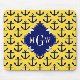 Navy Anchors Pineapple BG, Navy 3 Initial Monogram Mouse Pad