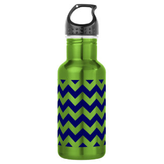 Navy and Apple Green Zigzag 18oz Water Bottle