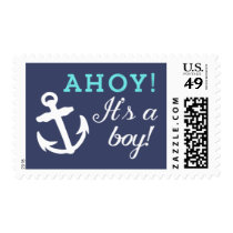 Navy and Aqua Anchor Ahoy It's A Boy Postage