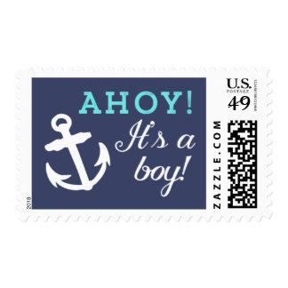 Navy and Aqua Anchor Ahoy It's A Boy Stamp
