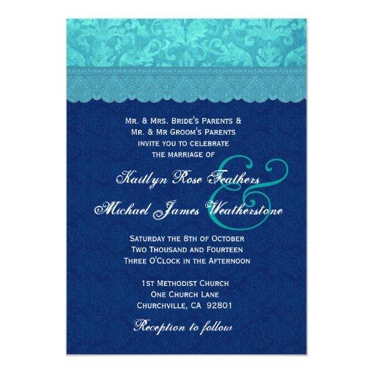 Navy and Aqua Blue Damask Wedding G500D Card