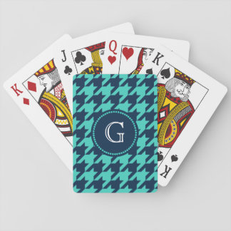 Navy and Aqua Houndstooth Playing Cards