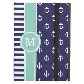 Navy and Aqua Nautical Anchors Monogram iPad Air Cover