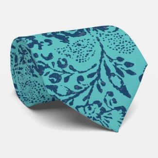 Navy and Aqua Vintage Paisley Floral Wedding Tie