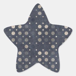 Navy and Beige Polka Dot Pattern Star Sticker