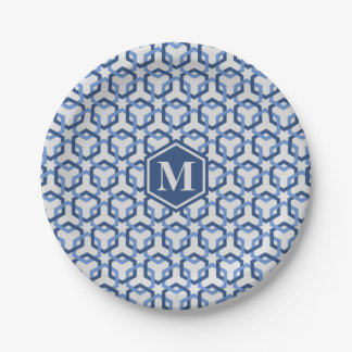 Navy and Blue Linked Hexes Paper Plate 7 Inch Paper Plate