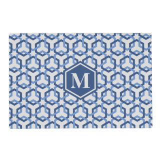 Navy and Blue Linked Hexes Placemat