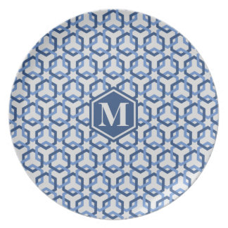 Navy and Blue Linked Hexes Plate